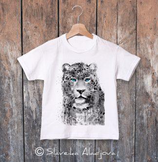 Детска тениска леопард сини очи