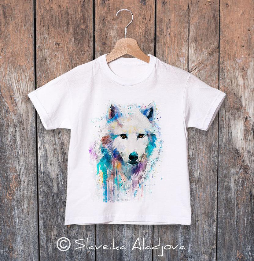 Детска тениска с бял вълк