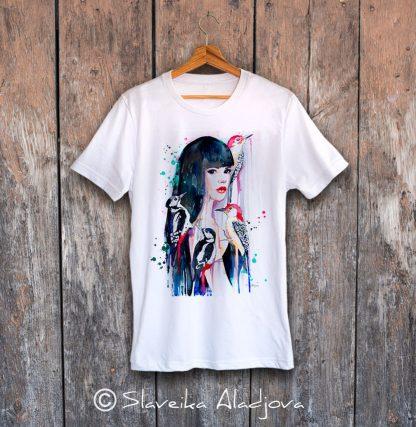 мъжка тениска жена с кълвачи