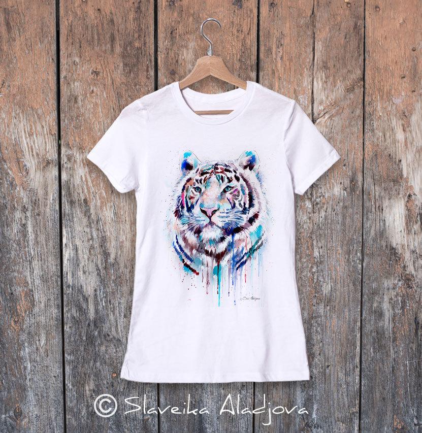 Дамска тениска с бял тигър