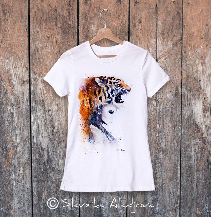 дамска тениска жена с тигър