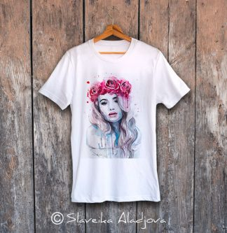 мъжка тениска жена с рози