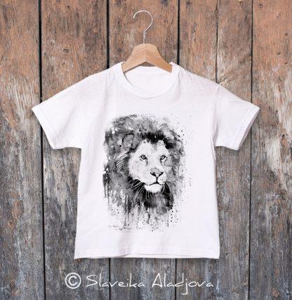 детска тениска с лъв черно бял