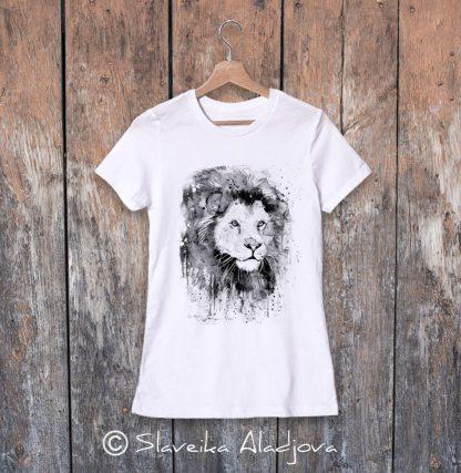 дамска тениска с лъв черно бял