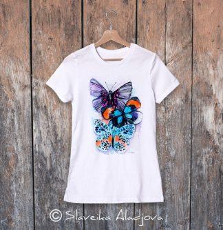 дамска тениска с пеперуди 2