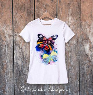 Дамска тениска с пеперуди