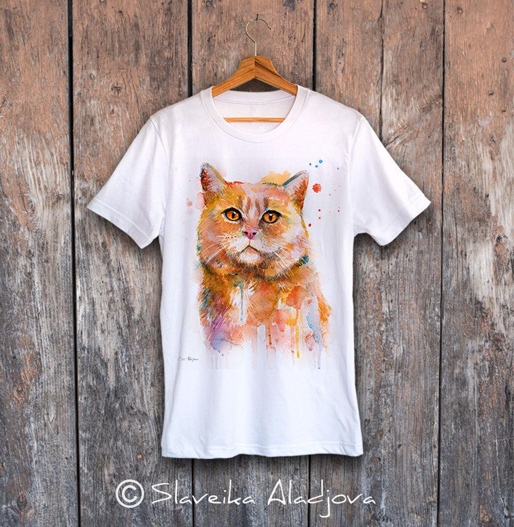 мъжка тениска с котка