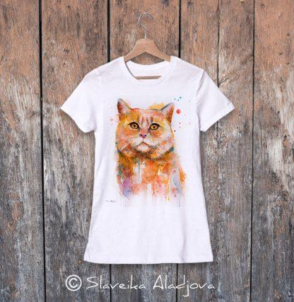 дамска тениска с котка