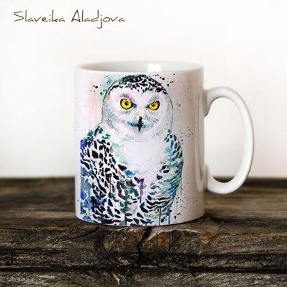 чаша съ снежна сова