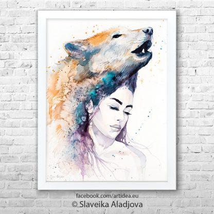 картина жена с вълк