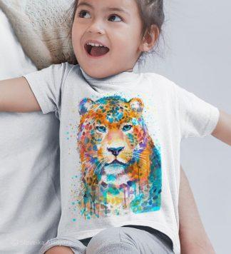 Детска тениска леопард цветен