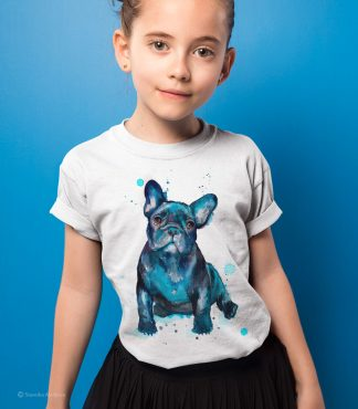 Детска тениска с куче френски булдог