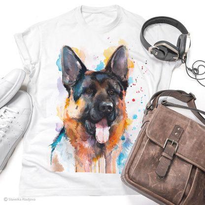Тениска с куче немска овчарка