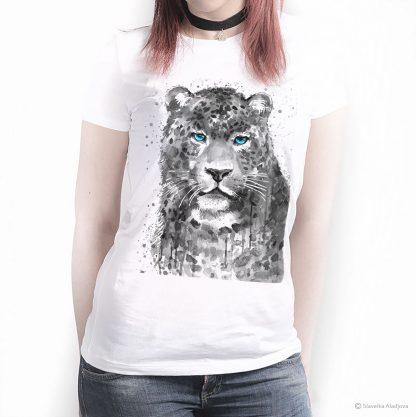 Тениска с леопард сини очи