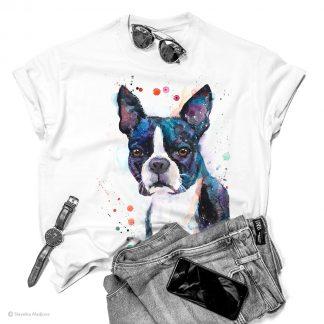 Тениска с куче Бостън Териер