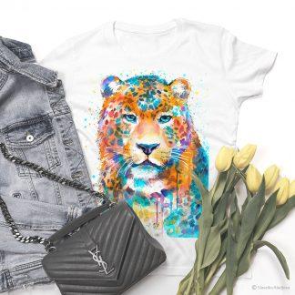 Тениска с цветен леопард