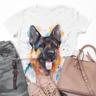 Модерна тениска с куче немска овчарка