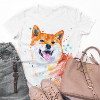 Тениска с куче акита