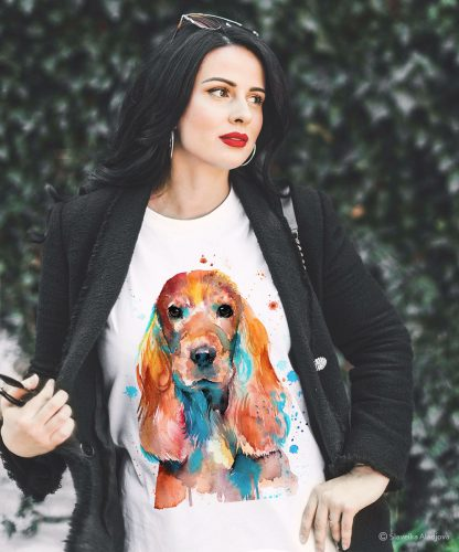 Унисекс тениска с куче кокер шпаньол