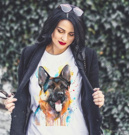 Унисекс тениска с куче немска овчарка