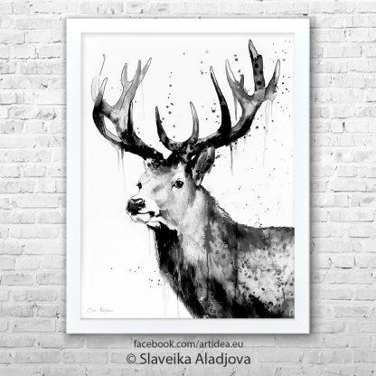 картина на черно бял елен