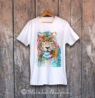 мъжка тениска с цветен леопард