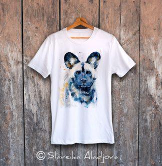 мъжка тениска с диво куче