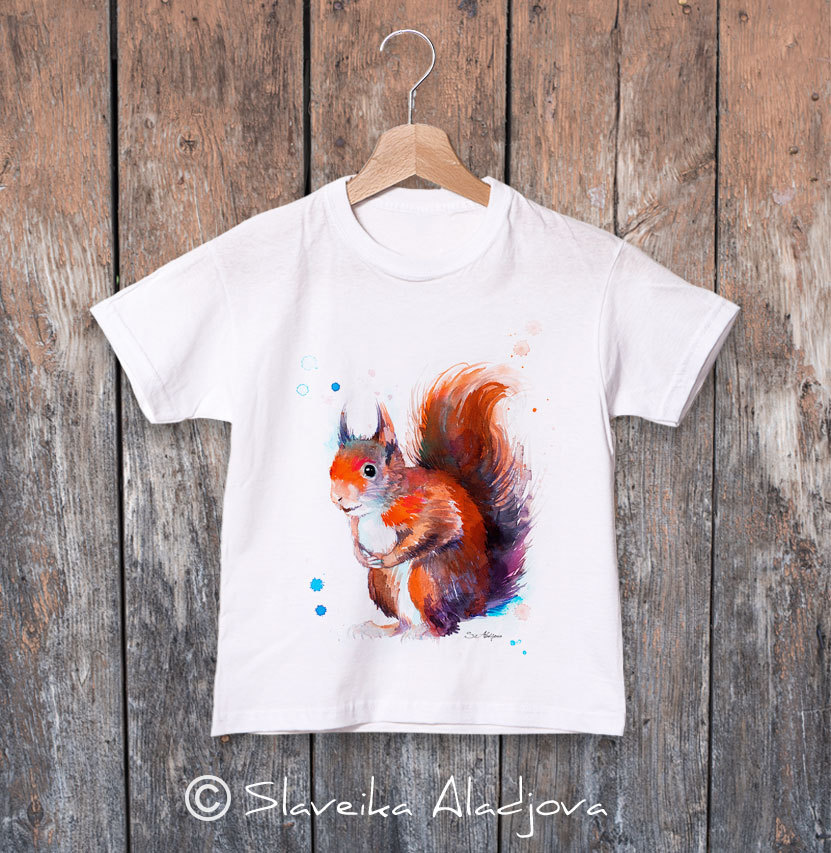детска тениска с катерица