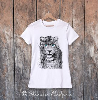 дамска тениска леопард сини очи