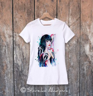дамска тениска жена с кълвачи
