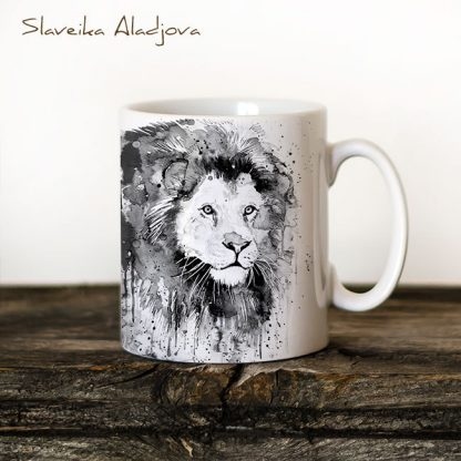 чаша черно бял лъв