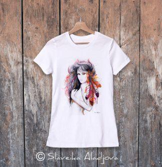 дамска тениска жена с пера