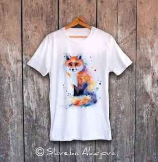 мъжка тениска с лисица