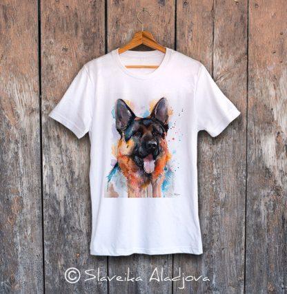 мъжка тениска с немска овчарка