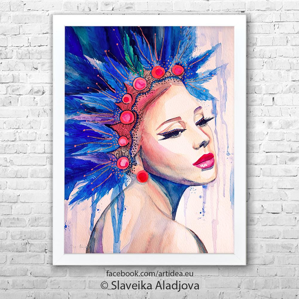 картина на жена със сини пера