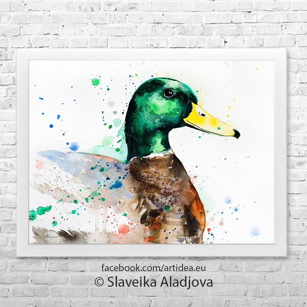 картина на зеленоглава патица