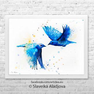 картина сини птици