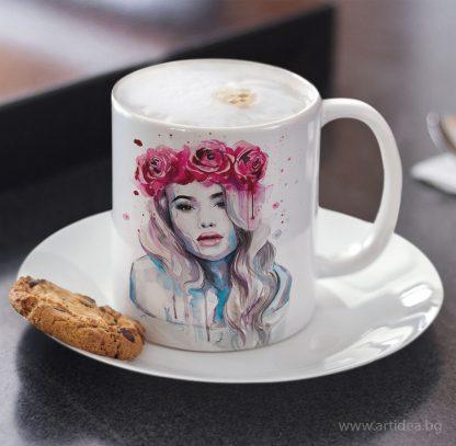 Чаша Жена с корона от рози – художник Славейка Аладжова