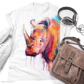 Тениска с цветен носорог