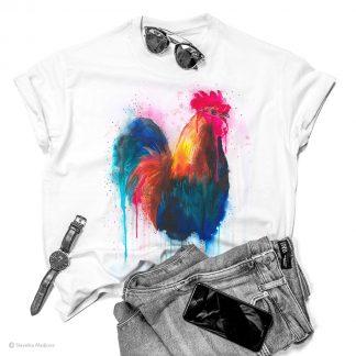 Тениска с цветен петел