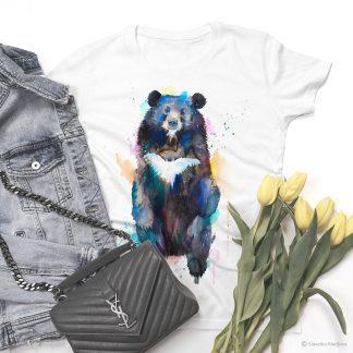 тениска с азиатска черна мечка
