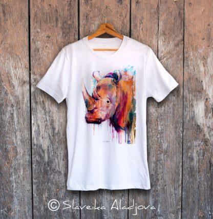 мъжка тениска с носорог