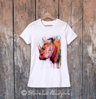 дамска тениска с носорог