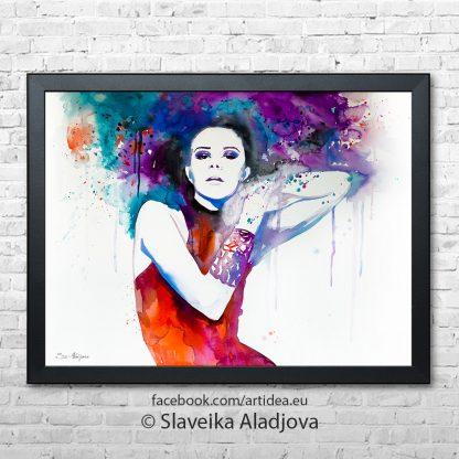 Жена с цветни коси черна рамка