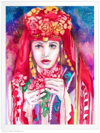 Картина с българска мома за подарък
