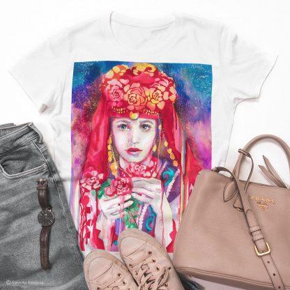 Унисекс тениска - Тракийска мома, фолклорен мотив