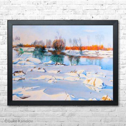 Картина пейзаж Струма през зимата