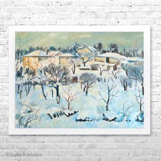 Картина пейзаж Зима на село