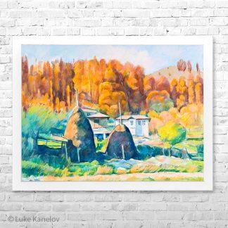 Картина пейзаж Златна есен в селския двор