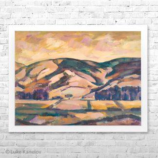 Картина пейзаж Край река Места